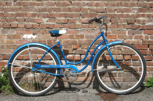 A blue Schwinn bike like mine