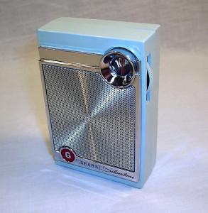 Powder blue pocket transistor radio